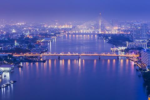Bangkok skyline twilight cityscape topview. Thailand.